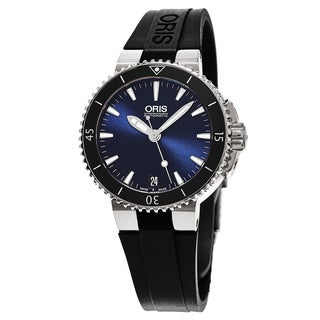 Oris Women's 733 7652 4135 RS 'Aquis Date' Blue Dial Black Rubber Strap Swiss Automatic Watch