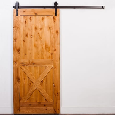 Half-X Clear Coat Unassembled Barn Door and Oil Rubbed Bronze Arrow Hardware