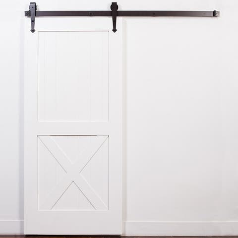 White Half-X Oil Rubbed Bronze Barn Door with Arrow Sliding Hardware
