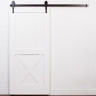 White Half-X Oil Rubbed Bronze Barn Door with Arrow Sliding Hardware