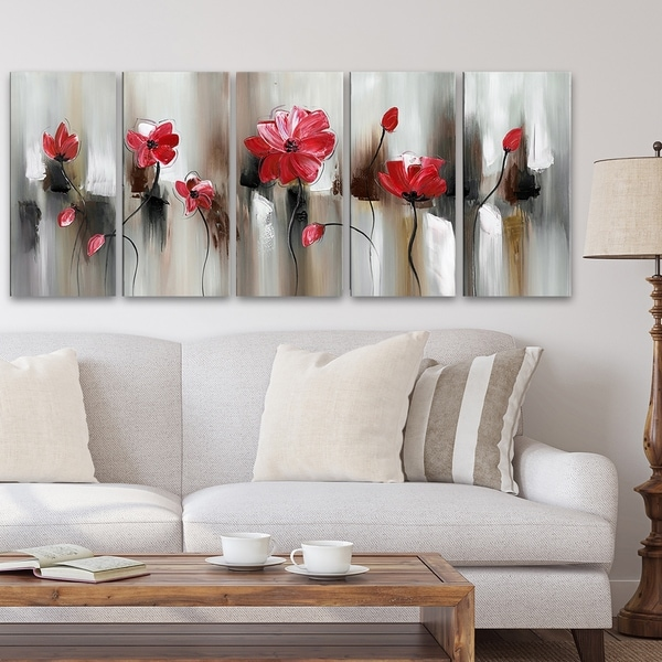 Hand-painted Red Flowers Canvas Art 1104