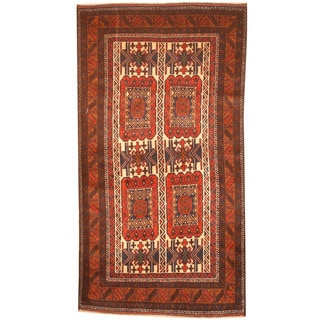 Herat Oriental Afghan Hand-knotted 1960's Semi-antique Tribal Balouchi Ivory/ Gold Wool Rug (3'5 x 6'6)