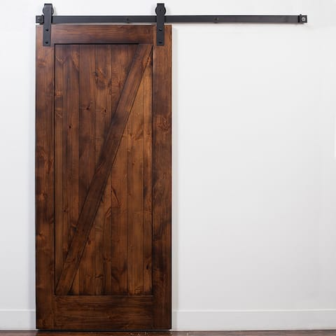 Rustica Hardware Stain and Glaze Unassembled Z-Barn Door with Industrial Hardware