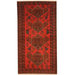 Herat Oriental Afghan Hand-knotted 1970's Semi-antique Tribal Balouchi Red/ Navy Wool Rug (3'7 x 6'8)