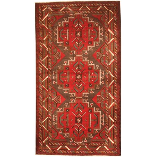 Handmade Herat Oriental Afghan 1960's Semi-antique Tribal Balouchi Charcoal/ Red Wool Rug (Afghanistan) - 3'6 x 6'4