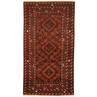 Herat Oriental Afghan Hand-knotted 1960's Semi-antique Tribal Balouchi Brown/ Red Wool Rug (3'4 x 6'2)