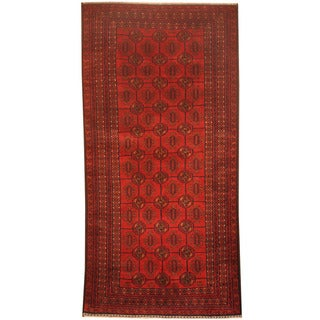 Herat Oriental Afghan Hand-knotted 1960's Semi-antique Tribal Balouchi Red/ Navy Wool Rug (3'3 x 6'9)