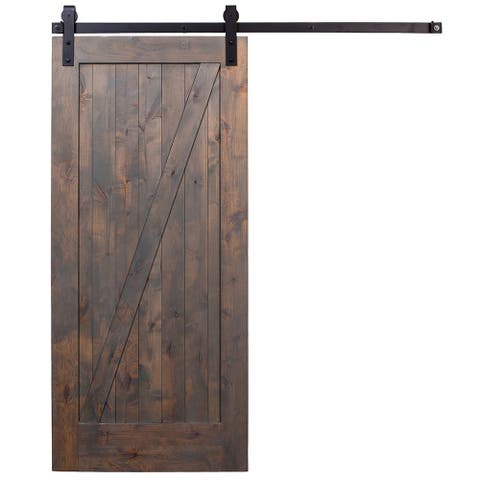 Rustica Hardware Barn Grey Z-Barn Door Unassembled with Industrial Hardware