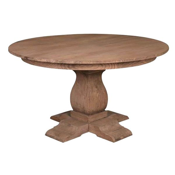 Beau The Hillsboro 55 Inch Round Pedestal Dining Table   Brown