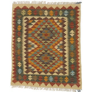 ecarpetgallery Hand-made Kashkoli Kilim Orange/ Yellow Wool Kilim (2'11 x 3'7)