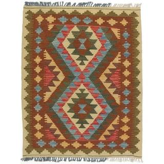 ecarpetgallery Hand-made Kashkoli Kilim Beige/ Brown Wool Kilim (3'0 x 3'9)