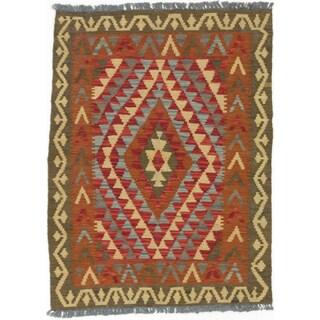 ecarpetgallery Hand-made Kashkoli Kilim Orange/ Yellow Wool Kilim (2'11 x 3'10)
