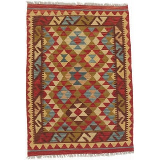 ecarpetgallery Hand-made Kashkoli Kilim Red/ Yellow Wool Kilim (2'10 x 3'11)