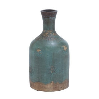 Aged Terracotta Bottle 15-inch Vase