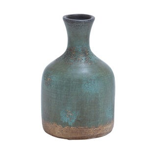 Aged Terracotta Bottle 12-inch Vase
