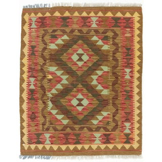 ecarpetgallery Hand-made Kashkoli Kilim Brown/ Red Wool Kilim (2'9 x 3'6)