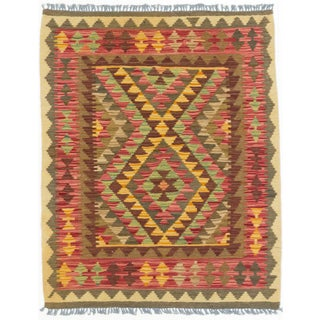 ecarpetgallery Hand-made Kashkoli Kilim Orange/ Red Wool Kilim (2'10 x 3'7)