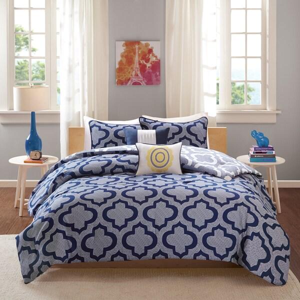Intelligent Design Elena Navy Reversible 5-piece Comforter Set