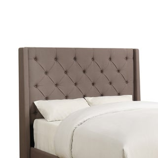 Wingback Button Tufted Dark Taupe Queen Size Upholstered Headboard