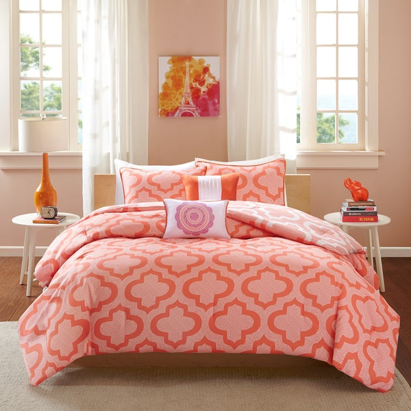 Intelligent Design Elena Orange/Coral Reversible 5-piece Comforter Set