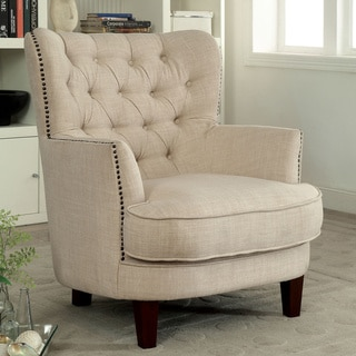 Furniture of America Maylorie Contemporary Ivory Linen-like Wingback Accent Chair