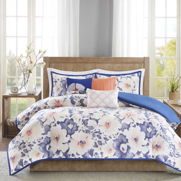 Madison Park Aria Navy Cotton 6-piece Duvet Cover Set