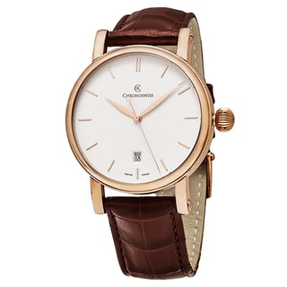 ChronoSwiss Men's CH-2891.1R 'Sirius' Silver Dial Brown Leather Strap Swiss Automatic 18k Gold Watch
