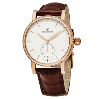 ChronoSwiss Men's CH-8021R 'Sirius' Silver Dial Brown Leather Strap Small Seconds Swiss Automatic 18k Gold Watch