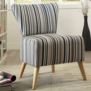 Furniture of America Marshie Modern Stripe Pattern Upholstered Slipper Chair