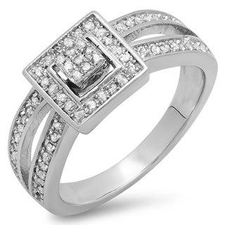 Elora Sterling Silver 1/4ct TDW Round Diamond Split Shank Bridal Engagement Ring (I-J, I2-I3)