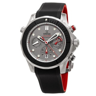 Omega Men's 212.92.44.50.99.001 'Seamaster Diver 300 ETNZ' Titanium Dial Black Rubber Strap Chronograph Swiss Automatic Watch