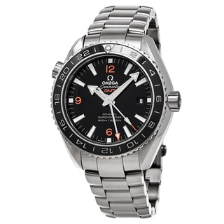 Omega Men's 232.30.44.22.01.002 'Planet Ocean' Black Dial Stainless Steel GMT Swiss Automatic Watch