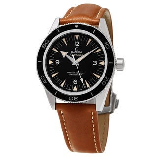Omega Men's 233.32.41.21.01.002 'Seamaster300' Black Dial Brown Leather Strap Co-Axial Swiss Automat