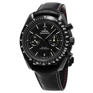 Omega Men's 311.92.44.51.01.004 'SpeedmasterMoon' Black Dial Black Leather Strap Chronograph Swiss Automatic Watch