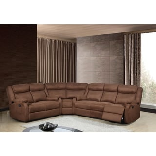 Tonnie 3 piece grey fabric and faux leather reclining for Doris 3 piece sectional sofa