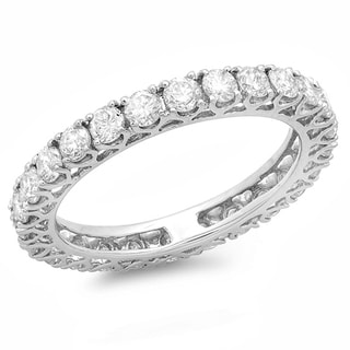 14k Gold 1 1/2ct TDW Round Diamond Wedding Eternity Ring (H-I, I1-I2)