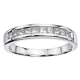 14k White Gold 1/2ct TW Princess White Diamond Anniversary Wedding Stackable Ring (H-I, I1-I2)