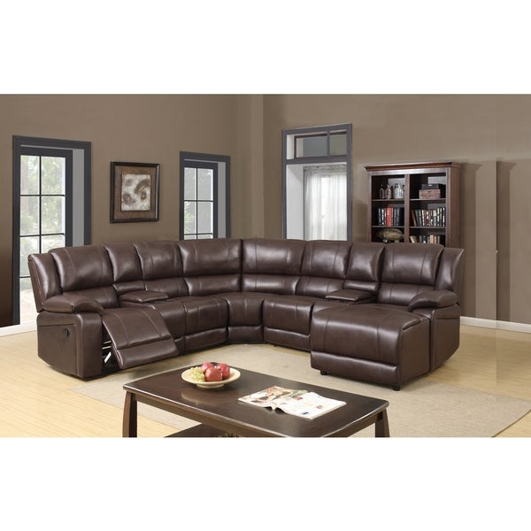 Chocolate Leather Gel 5-piece Sectional - Free Shipping ...