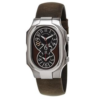 Philip Stein Men's 2-BRN-CABR 'Signature' Black/Brown Dial Brown Leather Strap Quartz Watch
