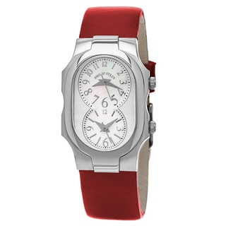 Philip Stein Women's 1-CMOP-CIDR 'Signature' Mother of Pearl Dial Red Leather Strap Quartz Watch
