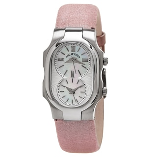 Philip Stein Women's 1-CMOP-CMLA 'Signature' Mother of Pearl Dial Pink Metallic Leather Strap Quartz Watch