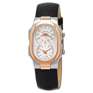 Philip Stein Women's 'Signature' Mother of Pearl Dial Black Leather Strap Two Tone Quartz Watch