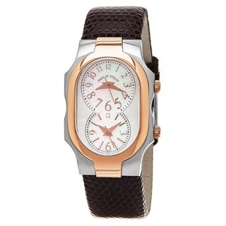 Philip Stein Women's 1TRG-FMOP-ZBR 'Signature' Mother of Pearl Dial Brown Leather Strap Two Tone Quartz Watch