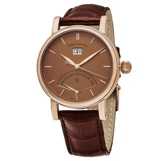 ChronoSwiss Men's CH-8121R-CP 'Sirius' Terracotta Dial Brown Leather Strap DayDate Retrograde Swiss Automatic Watch