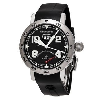 ChronoSwiss Men's CH-8143-BK 'Time Master' Black Dial Black Rubber Strap Retrograde Day Swiss Automatic Watch