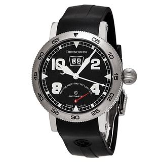ChronoSwiss Men's CH-8143-BK 'Time Master' Black Dial Black Rubber Strap Retrograde Day Swiss Automa