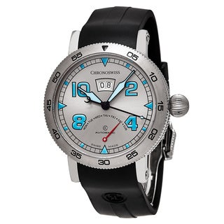 ChronoSwiss Men's CH-8143-WH 'Time Master' Silver Dial Black Rubber Strap Retrograde Day Swiss Automatic Watch