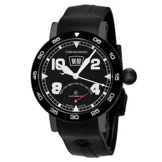 ChronoSwiss Men's CH-8145-BK 'Time Master' Black Dial Black Rubber Strap Retrograde Day Swiss Automa
