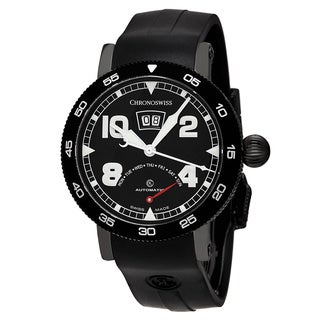 ChronoSwiss Men's CH-8145-BK 'Time Master' Black Dial Black Rubber Strap Retrograde Day Swiss Automatic Watch
