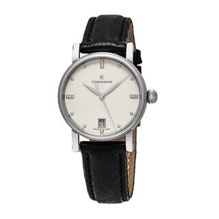 ChronoSwiss Women's CH-8923 'Sirius' Silver Diamond Dial Black Leather Strap Swiss Automatic Watch